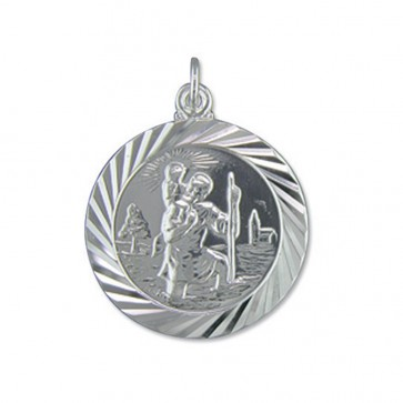 Children's Sterling Silver Large Double Sided Travel Design St Christopher Pendant On A Curb Necklace