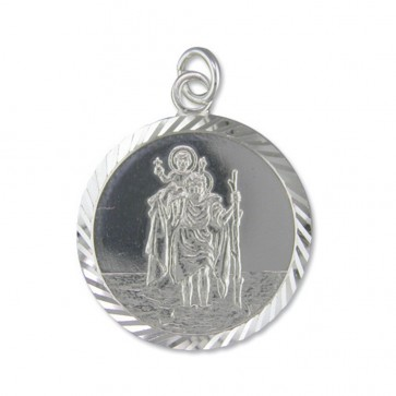 Men's Sterling Silver Large Diamond Cut Round St Christopher Pendant On A Black Leather Cord Necklace