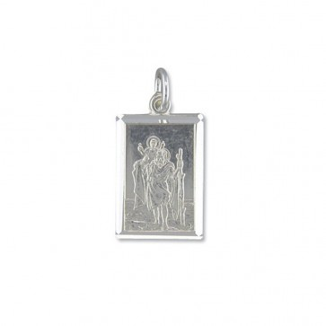 Children's Sterling Silver Medium Diamond Cut Oblong St Christopher Pendant On A Curb Necklace