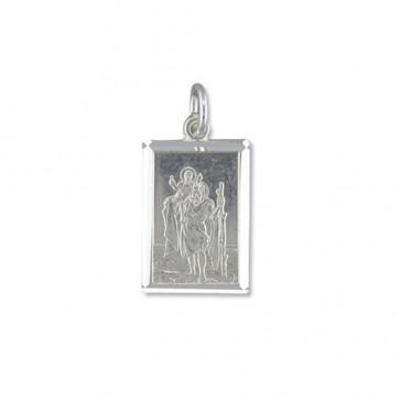 Men's Sterling Silver Medium Diamond Cut Oblong St Christopher Pendant On A Black Leather Cord Necklace