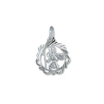 Sterling Silver Fancy Open Diamond Cut St Christopher Pendant On A Snake Necklace