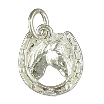 Children's Sterling Silver Horse Head Pendant On A Curb Necklace