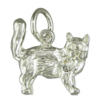 Children's Sterling Silver Cat Pendant On A Curb Necklace