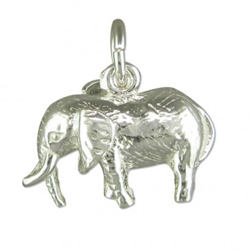 Men's Sterling Silver Elephant Pendant On A Black Leather Cord Necklace