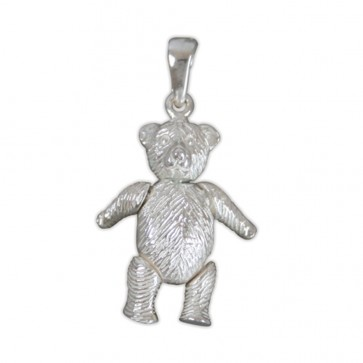 Sterling Silver Medium Teddy Bear Pendant On A Snake Necklace