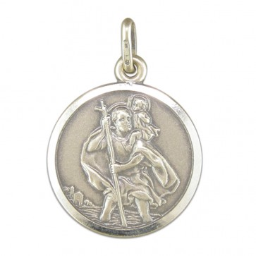 Children's Sterling Silver Medium Antique Finish St Christopher Pendant On A Curb Necklace