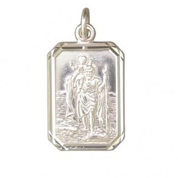 Sterling Silver Large Diamond Cut Oblong St Christopher Pendant On A Snake Necklace