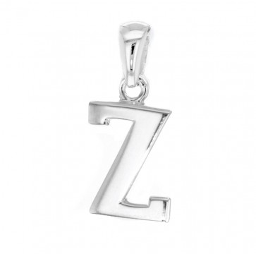 Men's Solid Sterling Silver Letter Z Initial Pendant On A Black Leather Cord Necklace