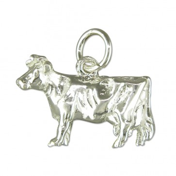 Children's Sterling Silver Cow Pendant On A Curb Necklace