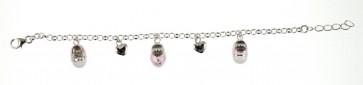 Childrens Sterling Silver Pink Shoe & Heart Bracelet