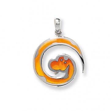 Men's Sterling Silver Orange Serpent Pendant On A Black Leather Cord Necklace