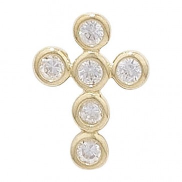9ct Gold 6 Stone Cubic Zirconia Cross Pendant On A Belcher Necklace