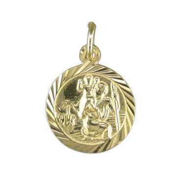 9ct Gold Round Diamond Cut St Christopher Pendant On A Belcher Necklace