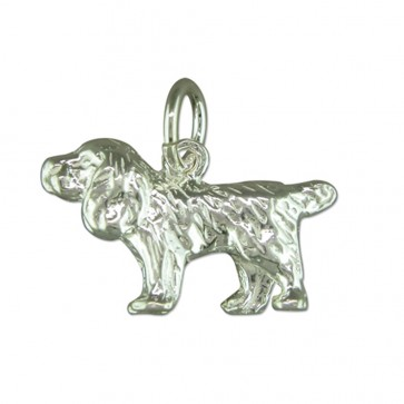 Men's Sterling Silver Spaniel Pendant On A Black Leather Cord Necklace