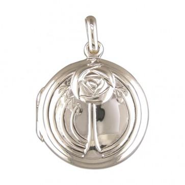 Children's Sterling Silver Rennie Mackintosh Style Round Locket On A Curb Necklace