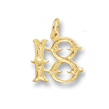 Men's 9ct Gold Old English Font 18th Birthday Pendant On A Curb Necklace