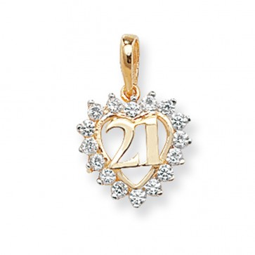 9ct Gold 21st Birthday Cubic Zirconia Heart Pendant On A Belcher Necklace