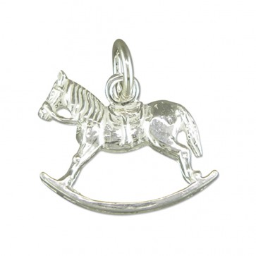 Children's Sterling Silver Rocking Horse Pendant On A Curb Necklace
