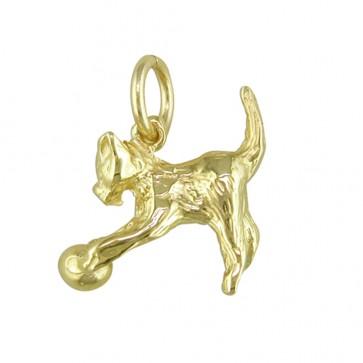 Men's 9ct Gold Cat Pendant On A Curb Necklace