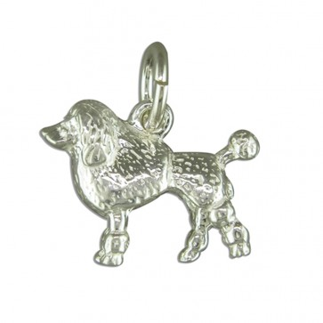 Children's Sterling Silver Poodle Pendant On A Curb Necklace