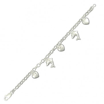 Sterling Silver Heart And Dolphin Bracelet