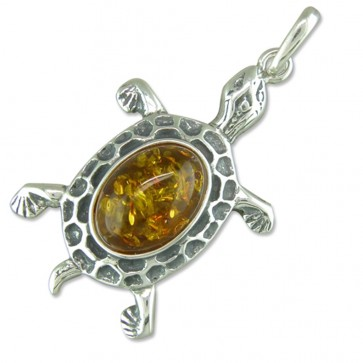Sterling Silver Amber Tortoise Pendant On A Snake Necklace