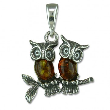 Men's Sterling Silver and Amber Owl Pendant On A Black Leather Cord Necklace