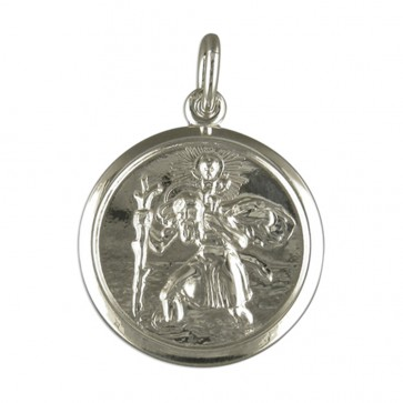 Men's Sterling Silver Round Double Sided St Christopher Pendant On A Black Leather Cord Necklace
