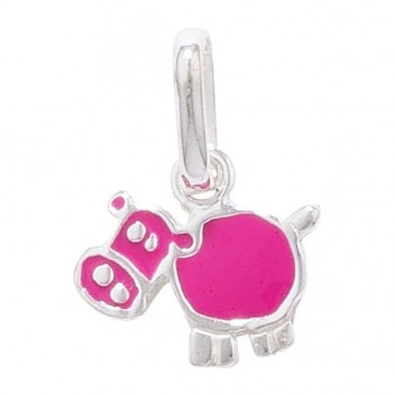Children's Sterling Silver Pink Cow Pendant On A Curb Necklace