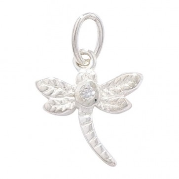 Sterling Silver Cubic Zirconia Dragonfly Pendant On A Snake Necklace