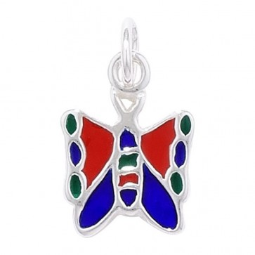 Children's Sterling Silver Multi Coloured Butterfly Pendant On A Curb Necklace