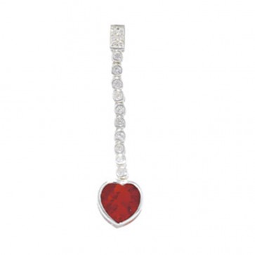 Sterling Silver White And Red Pendant On A Snake Necklace