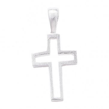 Men's Sterling Silver Frosted Cross Pendant On A Black Leather Cord Necklace