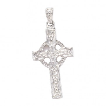 Men's Sterling Silver Celtic Cross Pendant On A Black Leather Cord Necklace