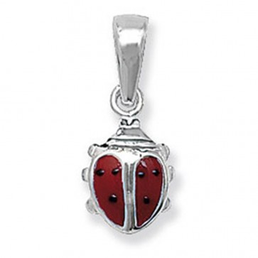 Children's Sterling Silver Red Ladybird Pendant On A Curb Necklace