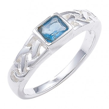 Sterling Silver Blue Topaz Celtic Ring