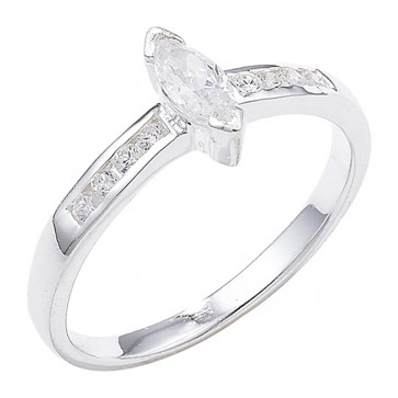 Sterling Silver Marquise Cubic Zirconia Ring