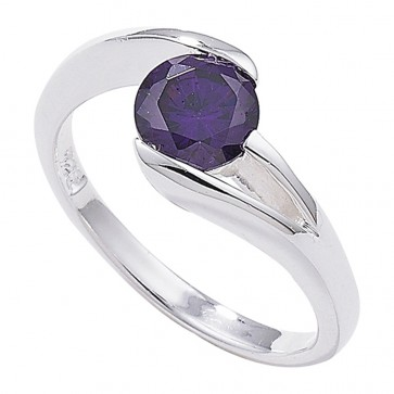Sterling Silver Amethyst Twist Ring