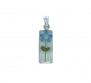 Men's Sterling Silver Real Blue Forget Me Not Flower Small Cylinder Pendant On A Black Leather Cord Necklace