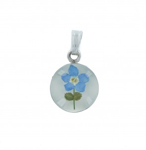 Children's Sterling Silver Real Blue Forget Me Not Flower Small Round Pendant On A Curb Necklace