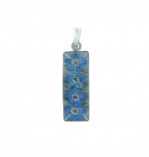 Men's Sterling Silver Real Blue Forget Me Not Flower Medium Cylinder Pendant On A Black Leather Cord Necklace