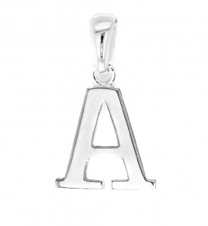 Children's Solid Sterling Silver Letter A Initial Pendant On A Curb Necklace