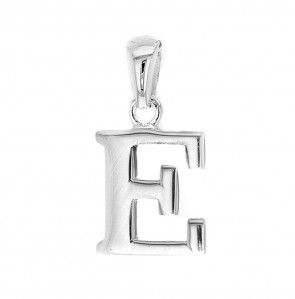 Children's Solid Sterling Silver Letter E Initial Pendant On A Curb Necklace