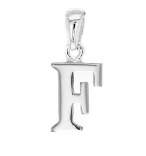 Children's Solid Sterling Silver Letter F Initial Pendant On A Curb Necklace