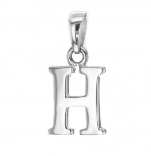 Children's Solid Sterling Silver Letter H Initial Pendant On A Curb Necklace