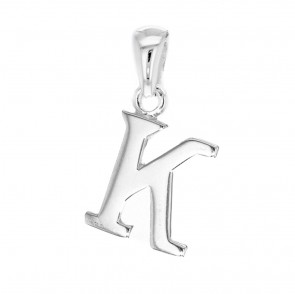 Children's Solid Sterling Silver Letter K Initial Pendant On A Curb Necklace