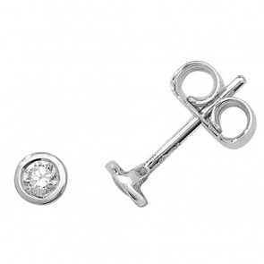 18ct White Gold 0.20ct Diamond Rubover Stud Earrings