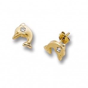 Childrens 9ct Gold Dolphin Stud Earrings
