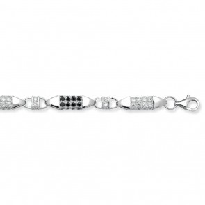 Sterling Silver Black and White Cubic Zirconia Block Chain Necklace - 7mm Thick - Various Lengths - 30, 32 and 36 Inch Long