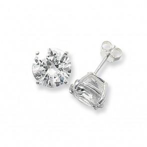 Sterling Silver 11MM Cubic Zirconia Round Stud Earrings